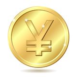 guld- teckenyen för mynt Royaltyfria Foton