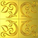Guld- tegelplatta med den blom- prydnaden Royaltyfria Bilder