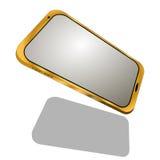 Guld- telefon som isoleras på vit bakgrund Arkivfoto