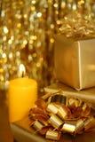 guld- tema iii för jul Arkivbilder