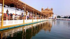 Guld- tempel Harmandir Sahib i Amritsar, Punjab, Indien royaltyfria bilder