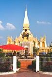 Guld- tempel i Vientiane Laos Arkivbild