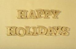 Guld- text för lyckliga ferier Royaltyfri Bild