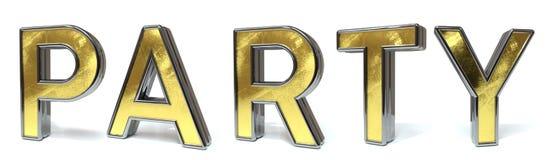Guld- text för parti stock illustrationer