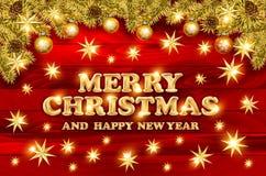 Guld- text på mörker - röd bakgrund Bokstäver för glad jul och för lyckligt nytt år för inbjudan- och hälsningkort, tryck och sto stock illustrationer