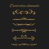 Guld- textavdelaruppsättning Dekorativa dekorativa beståndsdelar vektor illustrationer