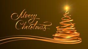 Guld- textdesign av glad jul och jul Arkivfoto