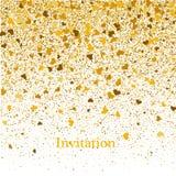 Guld- textur av blänker i formen av hjärta på en vit bakgrund bakgrundsfärger semestrar röd yellow Guld- kornig abstrakt textur Arkivbild