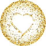Guld- textur av blänker i formen av hjärta på en vit bakgrund bakgrundsfärger semestrar röd yellow Guld- kornig abstrakt textur vektor illustrationer