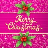 Guld- textur blänker Xmas-bokstäver på rosa julbakgrund med träd, bollar Garnering för säsonghälsningar stock illustrationer