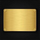 Guld- texturplatta med skruvar Royaltyfri Foto