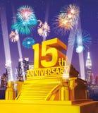 Guld- 15th årsdag mot stadshorisont Royaltyfria Bilder