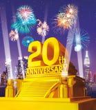 Guld- 20th årsdag mot stadshorisont Arkivbilder
