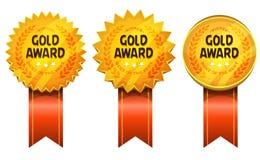 Guld tilldelar medaljer och band vektor illustrationer