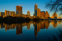Guld- timme Austin Texas för alpint glöd en stad som ska kallas hem royaltyfri fotografi