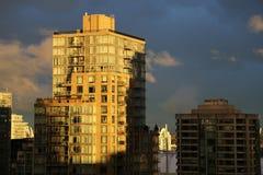 Guld- timme för Vancouver cityscape Royaltyfri Bild