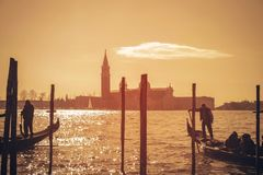 Guld- timme i Venedig fotografering för bildbyråer