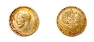 Guld tio rubel mynt Fotografering för Bildbyråer