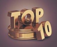 Guld- topp 10 lista 3D Royaltyfri Foto