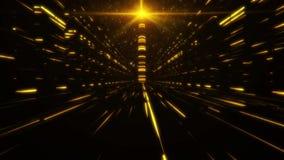 guld- torn för science fiction 3D av Babel Tunnel VJ öglasbakgrund arkivfilmer