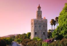 Guld- torn, Seville. Royaltyfria Bilder