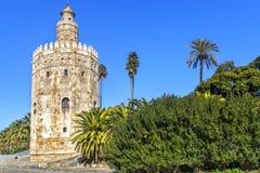 Guld- torn, Seville, Andalusia, Spanien Royaltyfri Fotografi