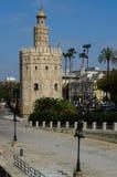 Guld- torn, Seville, Andalusia, Spanien Arkivbilder