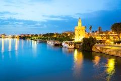 Guld- torn Seville Spanien Fotografering för Bildbyråer