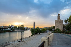 Guld- torn Seville Spanien Royaltyfria Foton