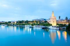Guld- torn Seville, Spanien Arkivfoto