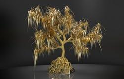 guld- träd för tolkning 3d med sidor som växer på den guld- guldtackan Arkivbilder