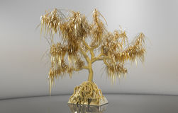 guld- träd för tolkning 3d med sidor som växer på den guld- guldtackan Arkivbild