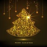 Guld- träd X-mas för berömmar för glad jul royaltyfri illustrationer