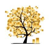 Guld- trädbegrepp för din design Royaltyfri Foto
