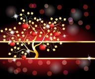 guld- tree för äpplekort Fotografering för Bildbyråer
