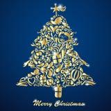 guld- tree för jul stock illustrationer