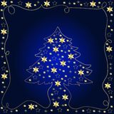 guld- tree för jul Fotografering för Bildbyråer