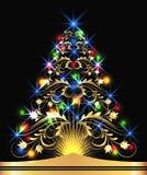 guld- tree för julpäls Royaltyfri Bild