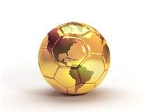 Guld- trofé för fotbollboll Royaltyfri Illustrationer