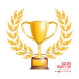 Guld- trofékopp med Laurel Wreath Utmärkelsedesign barn för kvinna för begreppsglädjevinnare skrika yeah bakgrund isolerad white  Royaltyfri Foto