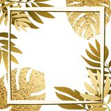 Guld- tropiska sidor med ramen Arkivbilder