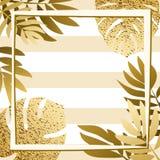 Guld- tropiska sidor med ramen görad randig bakgrund Royaltyfria Bilder