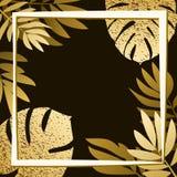 Guld- tropiska sidor på den mörka bakgrunden Arkivfoton