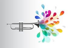 Guld- trumpet med abstrakta färgrika blommor Royaltyfri Bild