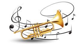 Guld- trumpet med musikanmärkningar i bakgrund stock illustrationer
