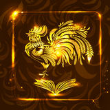 Guld- tupp med den öppna boken Stiliserad teckning hälsa ny ye Stock Illustrationer