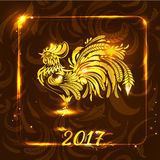 Guld- tupp på bakgrund för mörk brunt hälsa nytt år och C Stock Illustrationer