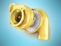 Guld- turbin för en maskin för tolkning 3d på en blå bakgrund Arkivbild