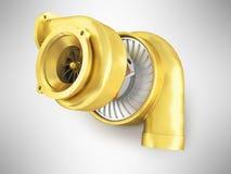 Guld- turbin för en maskin för tolkning 3d på en grå bakgrund Royaltyfri Fotografi