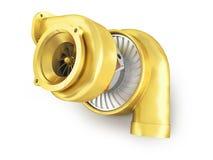 Guld- turbin för en maskin för tolkning 3d på en vit bakgrund Royaltyfri Fotografi